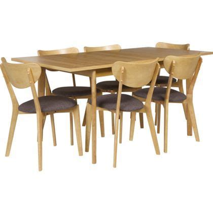 Hygena Oak Veneer Dining Table And 6 Charcoal Chairs Hygena Merrick Oak Table And 6 Charcoal Chairs At Homebase