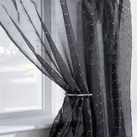 Disco Sparkle Black Voile Curtain Panel   Tonys Textiles