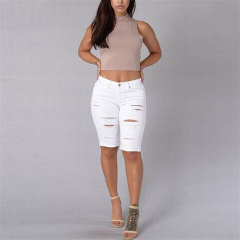 Apparel Lab Womens Ripped White 2016 ripped for knee summer length femme denim white ripped
