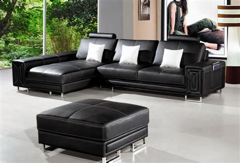 Leather Sectional Sofa With Ottoman by Black Stitched Bonded Leather Sectional Sofa With Ottoman