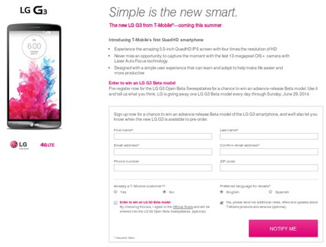 Pre Reveal Sweepstakes Software - t mobile giving an lg g3 away each day until june 29 aivanet