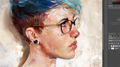 tutorial photoshop painting blue hair painting a digital portrait in photoshop youtube
