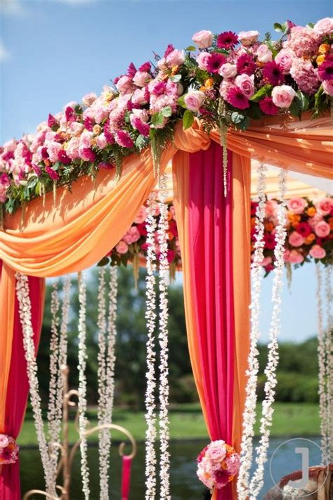 the best part the garlands made of tiny white flowers indian wedding decor shaadi