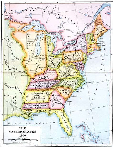 map of the united states in 1800 the united states