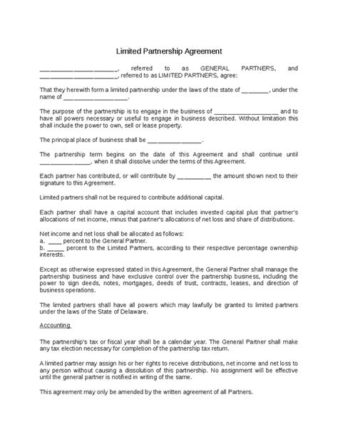 limited partnership agreement template limited partnership agreement template anuvrat info