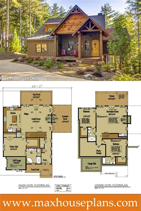 small cabin home plan with open living floor plan open