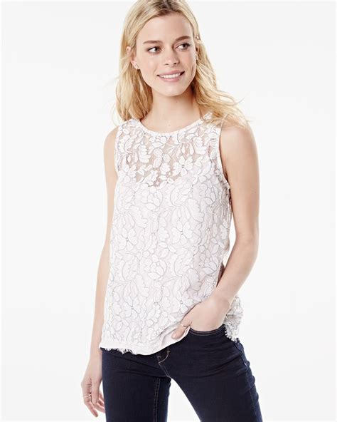 Blouse Twotone sleeveless two tone lace blouse with cami rw co