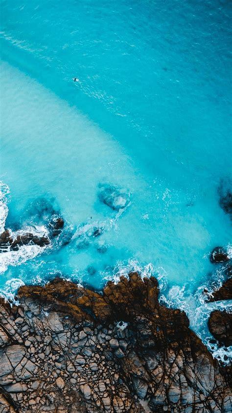 aerial view  beach rocks iphone wallpaper iphone