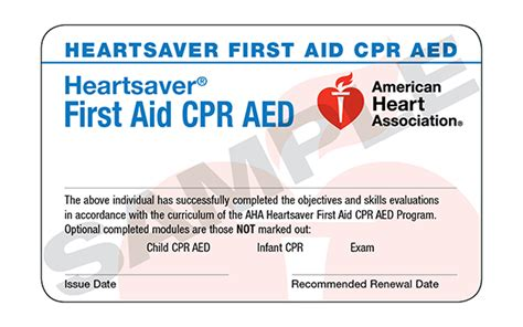 heartsaver cpr aed card template heartsaver