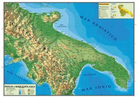 puglia e basilicata carta geografica cm100x140 puglia e basilicata