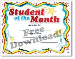 free student of the month certificate templates free certificate templates printables education