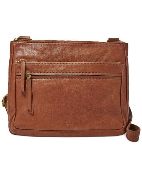 Fossil Brown Large fossil large leather corey crossbody in brown lyst