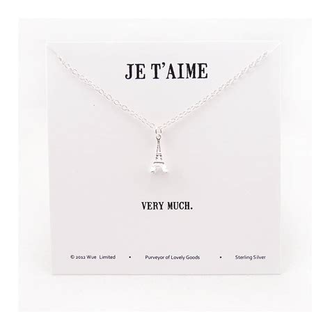 je t aime silver necklace by wue