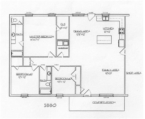 floor plans for metal building homes take out bed 3 to make open dining area turn bed 2 into
