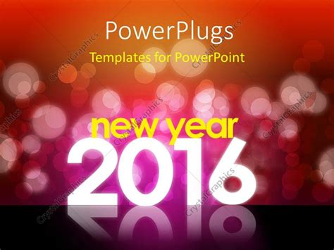 themes of new year 2016 powerpoint template new year 2016 theme with red bokeh