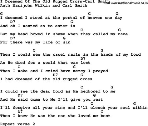 Song The Rugged Cross Lyrics And Chords by Country Southern And Bluegrass Gospel Song I Dreamed Of