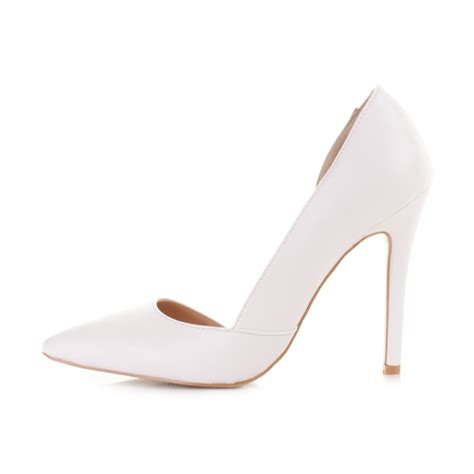 white stiletto high heels high heel cut out white leather style stiletto