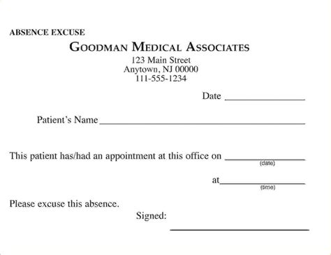 doctors excuse templates for work doctors excuse for work template business