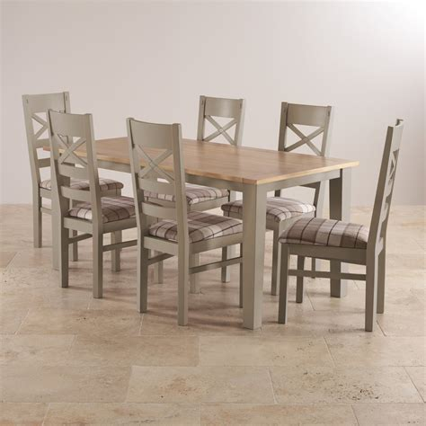 Grey Painted Dining Room Furniture St Ives Dining Set In Grey Painted Acacia Table 6 Chairs