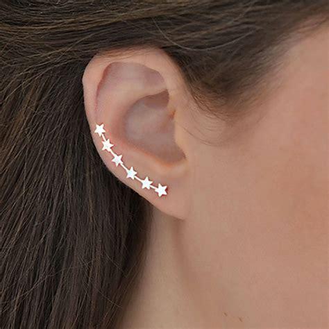 ear climber earrings sterling silver star ear climbers by martha jackson