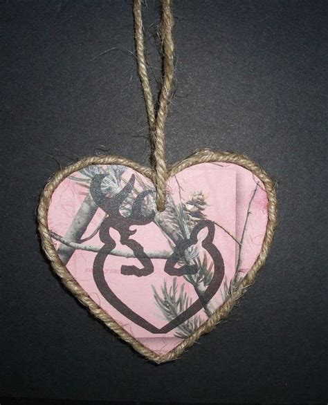 pink camo wood ornament with browning heart buck and doe