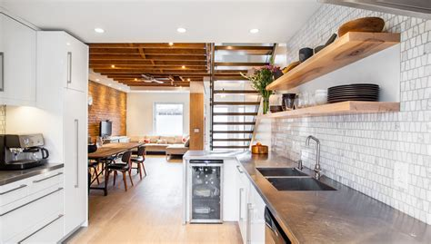 Kitchen Ceiling Shelves Gorgeous Open Tread Staircase In Kitchen Modern With