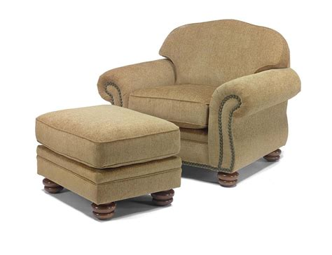 Flexsteel Chair And Ottoman Flexsteel Bexley Traditional Chair And Ottoman With Nail Trim Dunk Bright Furniture