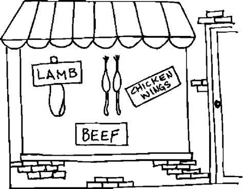 butcher shop coloring page color book