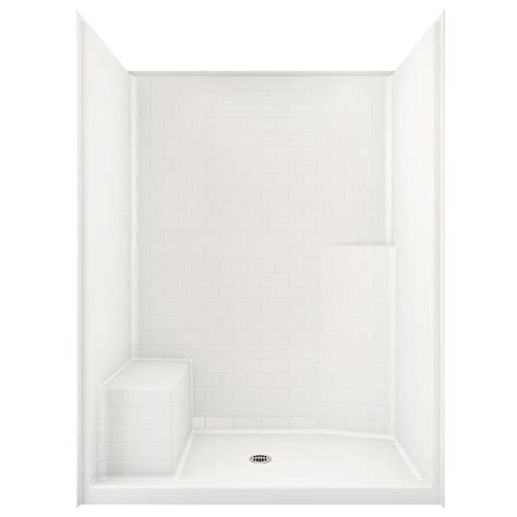One Shower Stall With Seat by Aquatic Everyday Subway Tile 60 In X 34 In X 80 In
