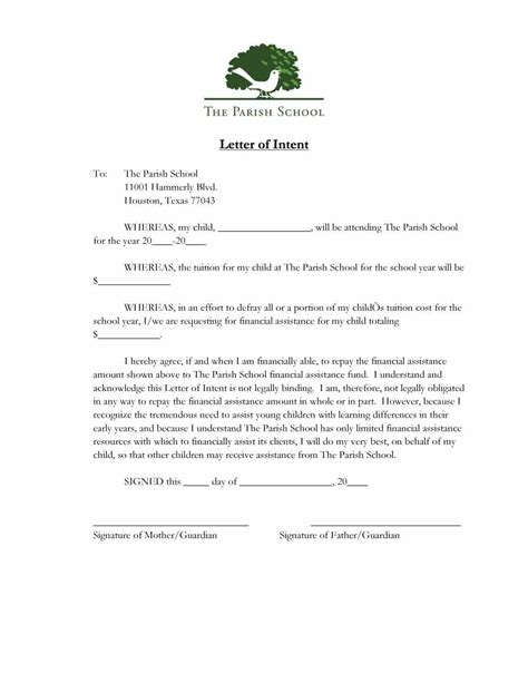 Letter Of Intent Content 40 Letter Of Intent Templates Sles For School