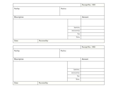 Blank Receipt Form Exle Mughals Forms Free Templates