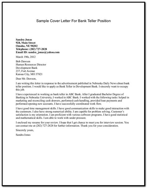 banking cover letter for resume sle cover letter for resume banking cover letter