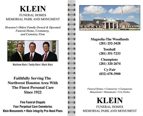 christians in business klein funeral homes memorial