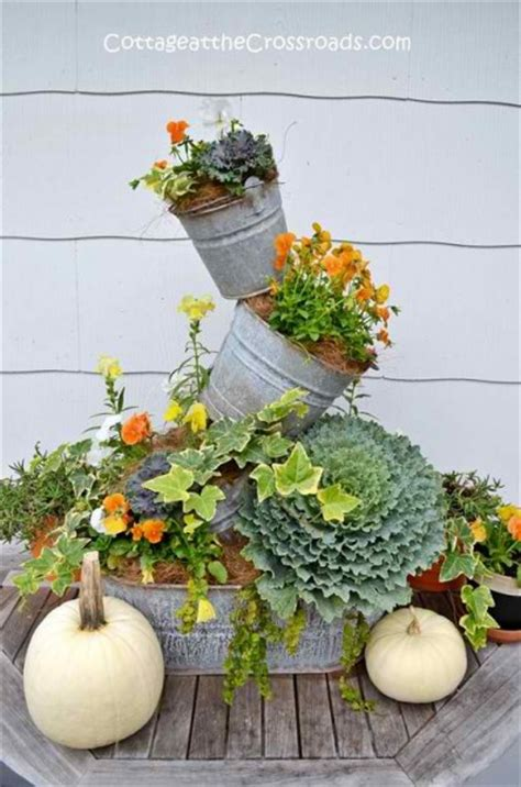 topsy turvy planter 16 fall containers for gorgeous porch decor blissfully domestic