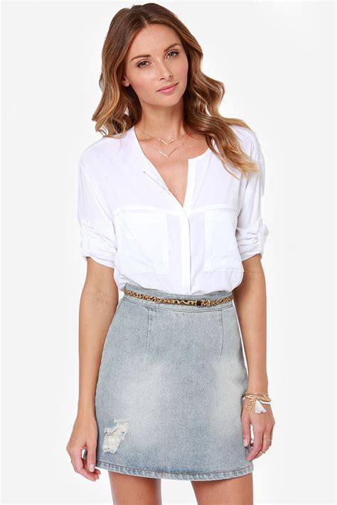 mink pink story to be told distressed denim skirt high