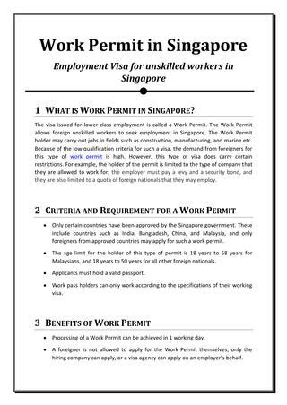 Work Permit After Mba In Singapore by Singapore Work Permit By Issuu