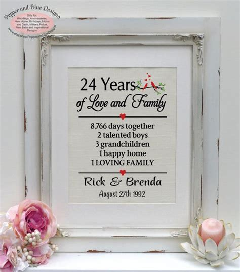 24th wedding anniversary 24 years married by pepperandbluedesigns anniversary gifts 24th