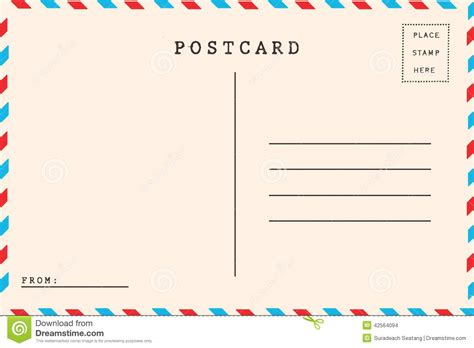 Back Of Airmail Stock Photo Image Of Brown Communication 42564094 Photo Postcard Template