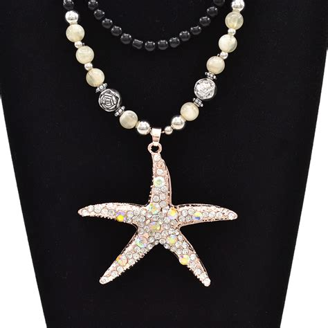 sea bead necklace sea shell starfish charm pendant chain