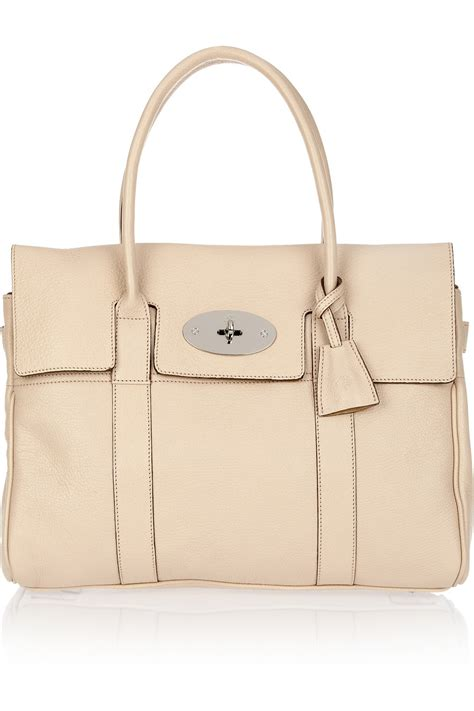 Mulberry Bayswater Handbag by Mulberry Bayswater Textured Leather Bag In Beige Gold Lyst