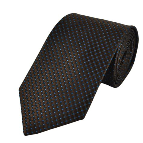 brown pattern tie chocolate brown with mid blue pattern checked tie from