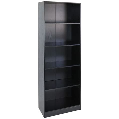 Hartleys 5 Tier Tall Black Wooden Freestanding Bookcase Black Wooden Bookshelves