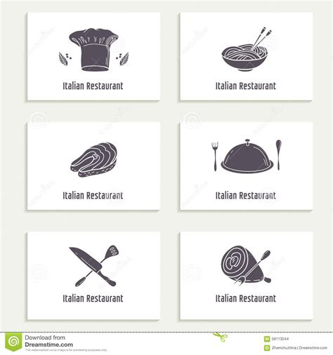 food chain template cards business cards set with outline style food silhouette