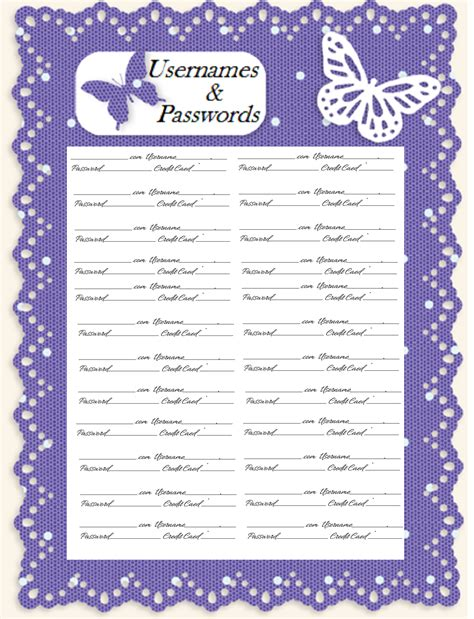 password journal template glenda s world username password journal pages