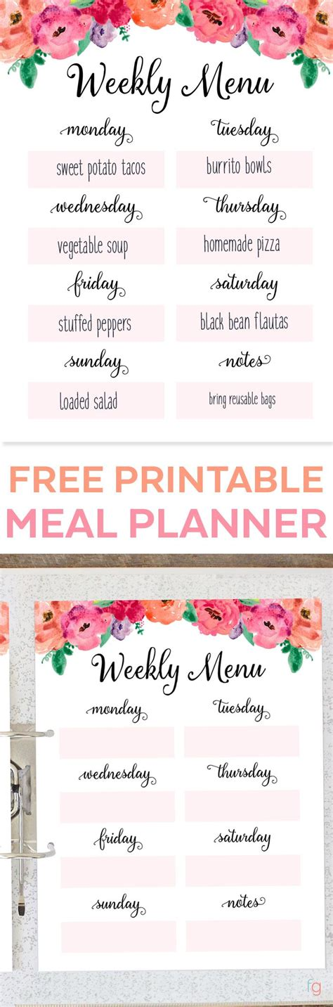 free printable meal planning ideas the 25 best free meal planner ideas on pinterest meal