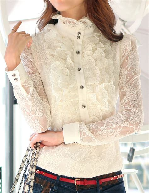 Lacy Ruffle Blouse Top high neck frilly womens vintage blouse ruffle lace top shirt in blouses