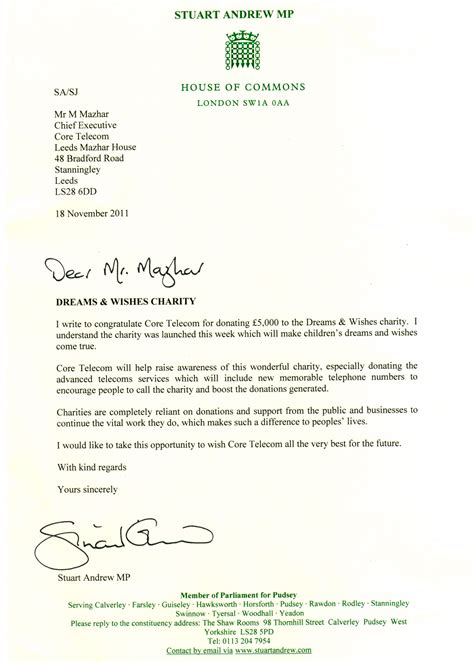 Thank You Letter Uk charitable donation from telecom recognised by