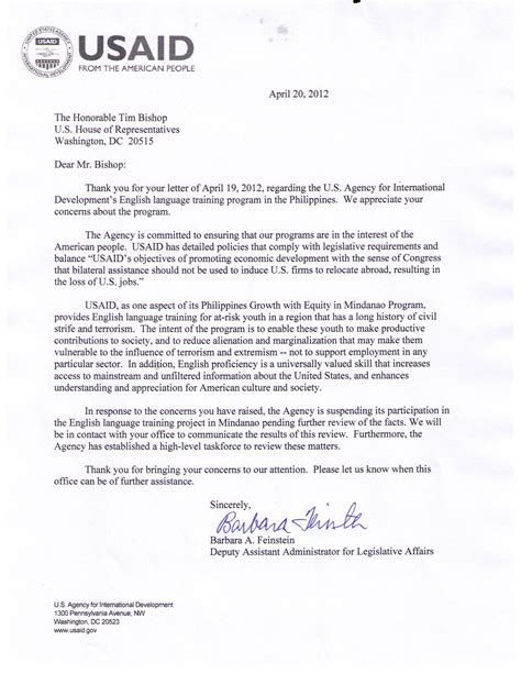 Complaint Letter Template To Bt usaid suspends outstsourcing program riverheadlocal