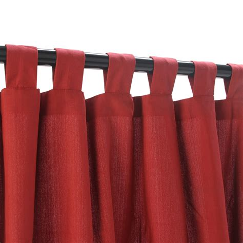 tab top red curtains garnet weathersmart outdoor curtain with tabs hatteras