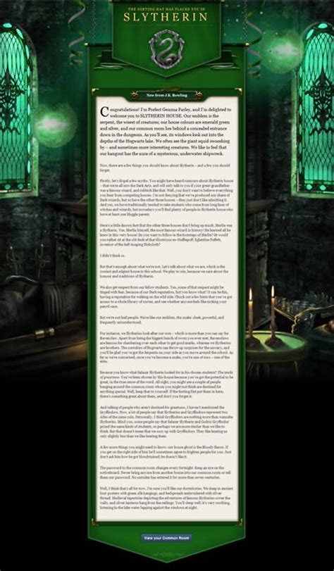 slytherin common room pottermore slytherin welcome letter from pottermore anything slytherin messages slytherin